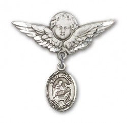 Pin Badge with St. Jason Charm and Angel with Larger Wings Badge Pin [BLBP0619]