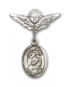 Pin Badge with St. Jason Charm and Angel with Smaller Wings Badge Pin [BLBP0620]