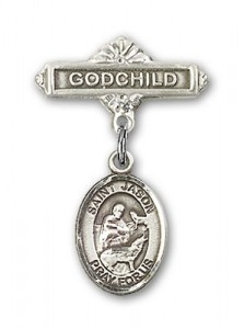 Pin Badge with St. Jason Charm and Godchild Badge Pin [BLBP0621]