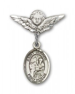 Pin Badge with St. Jerome Charm and Angel with Smaller Wings Badge Pin [BLBP1194]