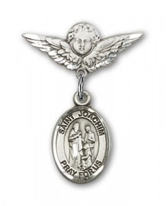 Pin Badge with St. Joachim Charm and Angel with Smaller Wings Badge Pin [BLBP2249]