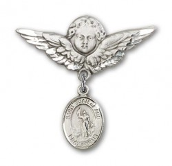 Pin Badge with St. Joan of Arc Charm and Angel with Larger Wings Badge Pin [BLBP0633]