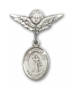 Pin Badge with St. Joan of Arc Charm and Angel with Smaller Wings Badge Pin [BLBP0634]