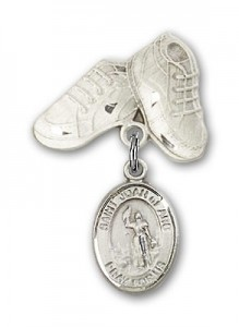 Pin Badge with St. Joan of Arc Charm and Baby Boots Pin [BLBP0636]