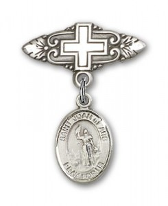 Pin Badge with St. Joan of Arc Charm and Badge Pin with Cross [BLBP0631]