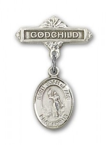 Pin Badge with St. Joan of Arc Charm and Godchild Badge Pin [BLBP0635]