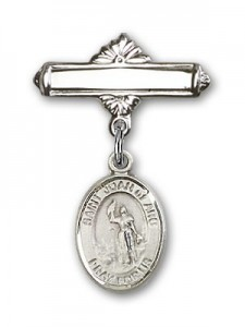 Pin Badge with St. Joan of Arc Charm and Polished Engravable Badge Pin [BLBP0630]