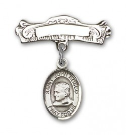 Pin Badge with St. John Bosco Charm and Arched Polished Engravable Badge Pin [BLBP0646]