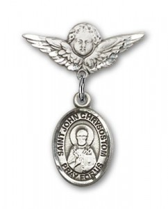 Pin Badge with St. John Chrysostom Charm and Angel with Smaller Wings Badge Pin [BLBP2284]