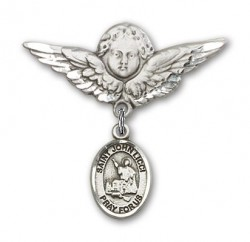 Pin Badge with St. John Licci Charm and Angel with Larger Wings Badge Pin [BLBP2290]