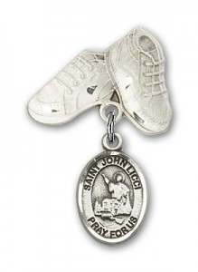 Pin Badge with St. John Licci Charm and Baby Boots Pin [BLBP2293]