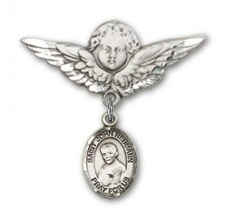 Pin Badge with St. John Neumann Charm and Angel with Larger Wings Badge Pin [BLBP1312]