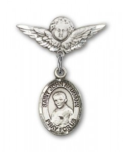 Pin Badge with St. John Neumann Charm and Angel with Smaller Wings Badge Pin [BLBP1313]