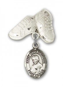 Pin Badge with St. John Neumann Charm and Baby Boots Pin [BLBP1315]
