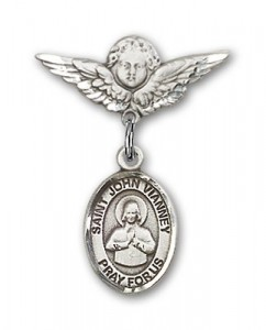 Pin Badge with St. John Vianney Charm and Angel with Smaller Wings Badge Pin [BLBP1845]