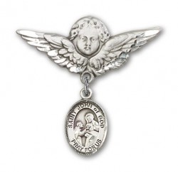 Pin Badge with St. John of God Charm and Angel with Larger Wings Badge Pin [BLBP1046]