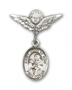 Pin Badge with St. John of God Charm and Angel with Smaller Wings Badge Pin [BLBP1047]