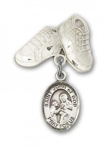 Pin Badge with St. John of God Charm and Baby Boots Pin [BLBP1049]