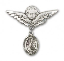 Pin Badge with St. John the Apostle Charm and Angel with Larger Wings Badge Pin [BLBP0654]
