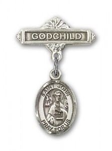 Pin Badge with St. John the Apostle Charm and Godchild Badge Pin [BLBP0656]