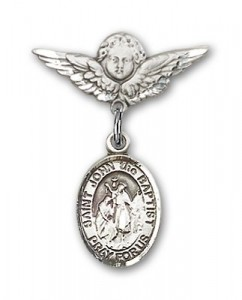 Pin Badge with St. John the Baptist Charm and Angel with Smaller Wings Badge Pin [BLBP0641]