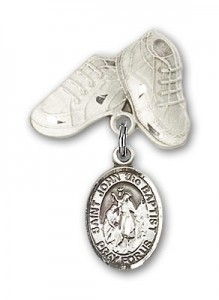 Pin Badge with St. John the Baptist Charm and Baby Boots Pin [BLBP0643]
