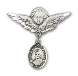 Pin Badge with St. Josemaria Escriva Charm and Angel with Larger Wings Badge Pin [BLBP2318]