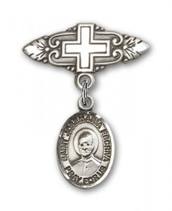 Pin Badge with St. Josemaria Escriva Charm and Badge Pin with Cross [BLBP2316]