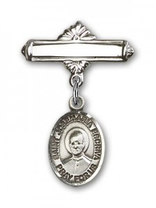Pin Badge with St. Josemaria Escriva Charm and Polished Engravable Badge Pin [BLBP2315]