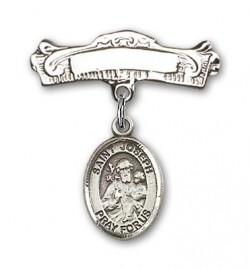 Pin Badge with St. Joseph Charm and Arched Polished Engravable Badge Pin [BLBP0667]