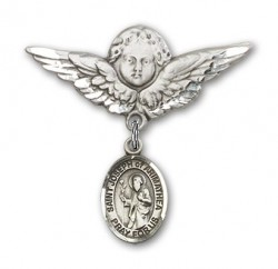 Pin Badge with St. Joseph of Arimathea Charm and Angel with Larger Wings Badge Pin [BLBP1968]