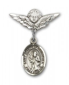 Pin Badge with St. Joseph of Arimathea Charm and Angel with Smaller Wings Badge Pin [BLBP1969]