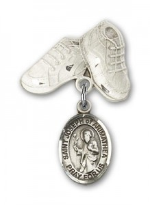 Pin Badge with St. Joseph of Arimathea Charm and Baby Boots Pin [BLBP1971]