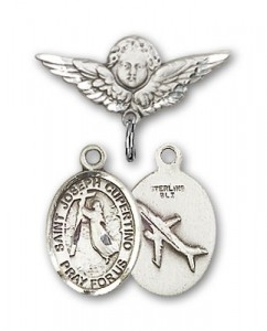 Pin Badge with St. Joseph of Cupertino Charm and Angel with Smaller Wings Badge Pin [BLBP0662]