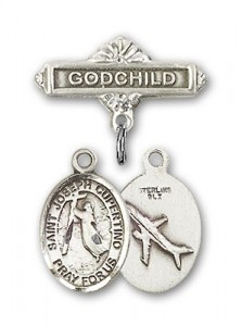 Pin Badge with St. Joseph of Cupertino Charm and Godchild Badge Pin [BLBP0663]