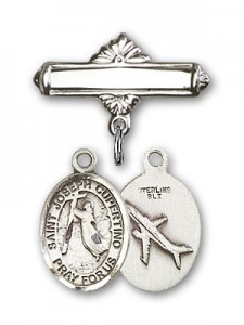 Pin Badge with St. Joseph of Cupertino Charm and Polished Engravable Badge Pin [BLBP0658]