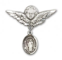 Pin Badge with St. Joseph the Worker Charm and Angel with Larger Wings Badge Pin [BLBP1424]
