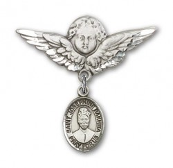 Pin Badge with St. Josephine Bakhita Charm and Angel with Larger Wings Badge Pin [BLBP2304]