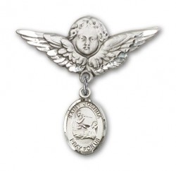 Pin Badge with St. Joshua Charm and Angel with Larger Wings Badge Pin [BLBP0675]