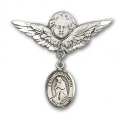 Pin Badge with St. Juan Diego Charm and Angel with Larger Wings Badge Pin [BLBP1039]