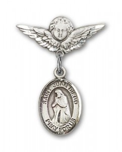 Pin Badge with St. Juan Diego Charm and Angel with Smaller Wings Badge Pin [BLBP1040]