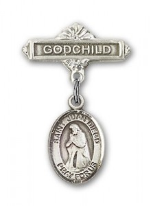 Pin Badge with St. Juan Diego Charm and Godchild Badge Pin [BLBP1041]