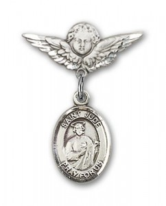 Pin Badge with St. Jude Thaddeus Charm and Angel with Smaller Wings Badge Pin [BLBP0683]