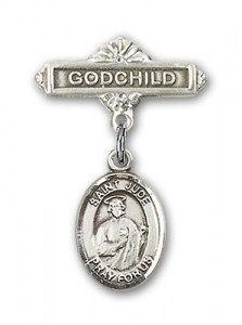 Pin Badge with St. Jude Thaddeus Charm and Godchild Badge Pin [BLBP0684]