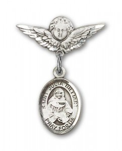 Pin Badge with St. Julia Billiart Charm and Angel with Smaller Wings Badge Pin [BLBP1740]