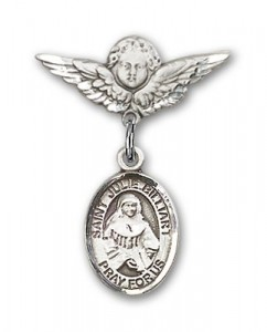 Pin Badge with St. Julie Billiart Charm and Angel with Smaller Wings Badge Pin [BLBP1082]