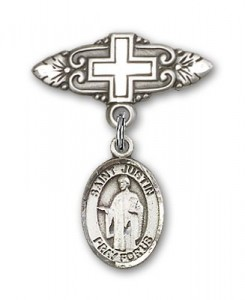 Pin Badge with St. Justin Charm and Badge Pin with Cross [BLBP0624]