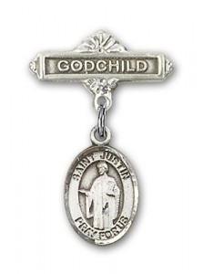 Pin Badge with St. Justin Charm and Godchild Badge Pin [BLBP0628]