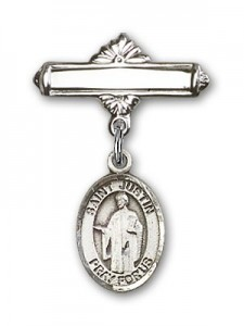 Pin Badge with St. Justin Charm and Polished Engravable Badge Pin [BLBP0623]