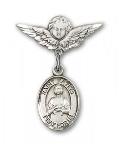 Pin Badge with St. Kateri Charm and Angel with Smaller Wings Badge Pin [BLBP0690]